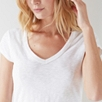 Cotton Slub V Neck T-shirt - White