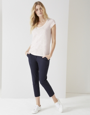 Cotton V-Neck T-shirt - Pale Pink