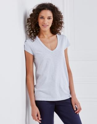 Cotton V-Neck T-shirt - Chalk Blue