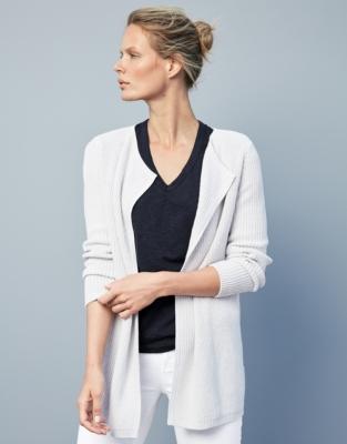 Cotton V-Neck T-shirt - Navy