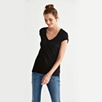 Cotton Slub V Neck T-shirt - Black