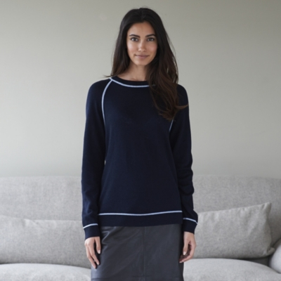 Contrast Trim Sweater - Navy Marl
