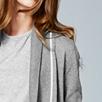 Contrast Tubular Cardigan - Gray Marl