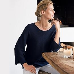 Curved Hem Wide Sleeve Sweater