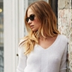 Chunky V-Neck Sweater - White