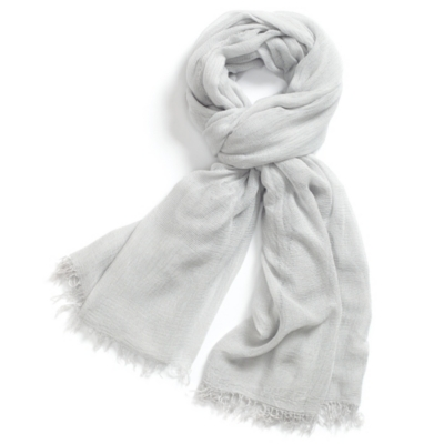Cross Weave Detail Scarf - Pale Gray