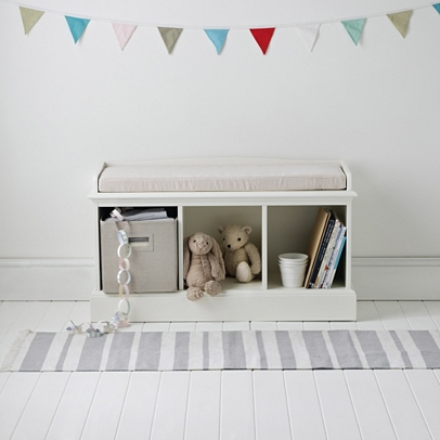 Marvelous Classic 3 Cube Storage Bench   White
