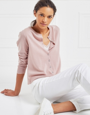 Crystal Button Cardigan - Pale Pink