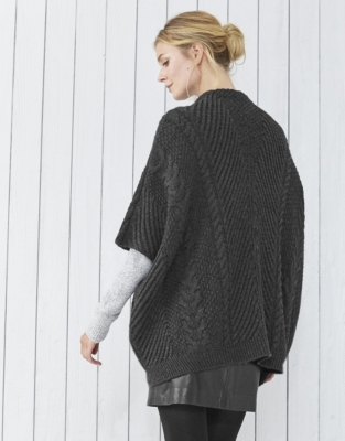 Cable Zip Poncho Cardigan