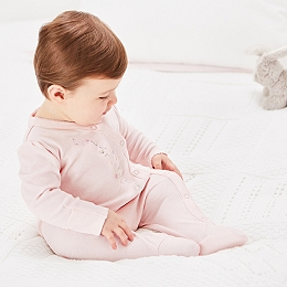 Daisy Chain Embroidered Sleepsuit