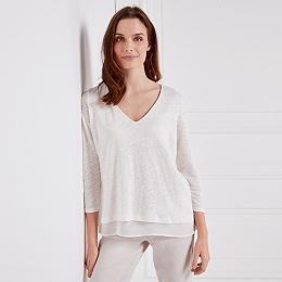 Linen & Silk Layered V-Neck Top