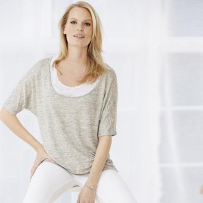 Linen Double Layer Scoop T-Shirt