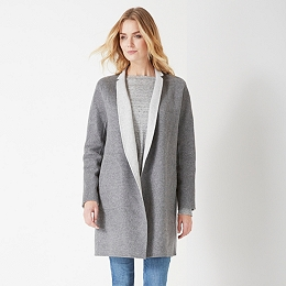 Reversible Double Face Cocoon Coat  - Pale Gray