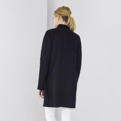 Reversible Double Face Cocoon Coat  - Black