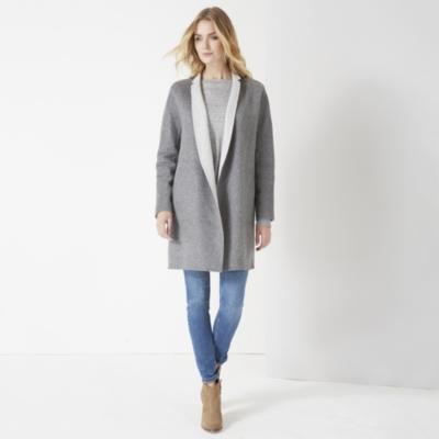 Reversible Double Face Cocoon Coat  - Pale Gray