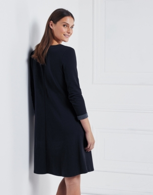 Double Faced V Neck Trapeze dress