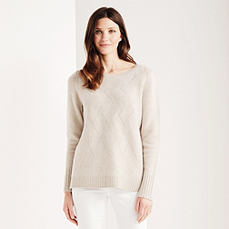 Diagonal Stitch Jumper - Biscuit Marl