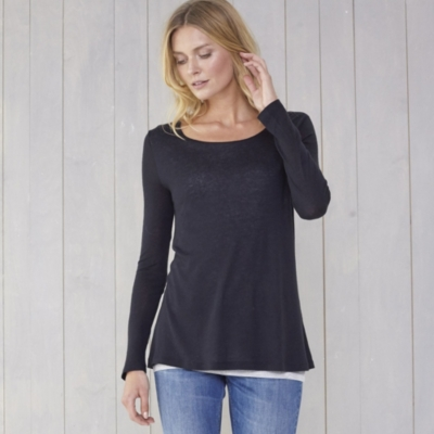 Double Layer Wool Mix Tee - Black