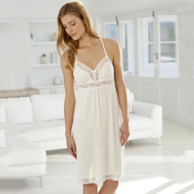 Dot Mesh and Lace Night Gown