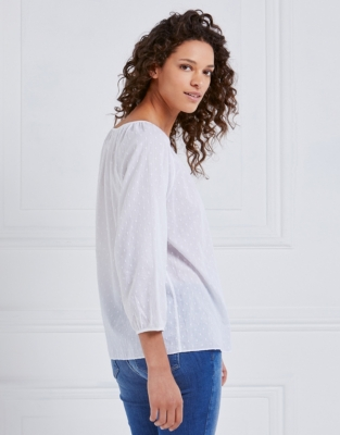 Dobby Gathered Neck Blouse