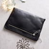 Double Zip Leather Pouch