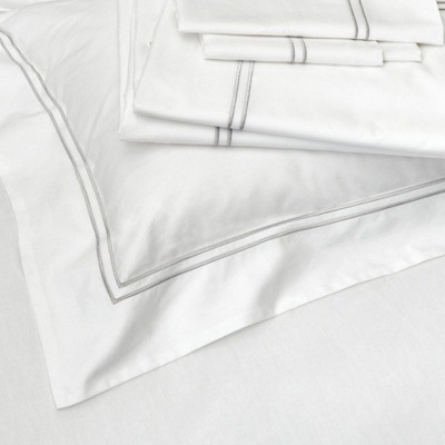 Double Row Cord Flat Sheet - White Silver