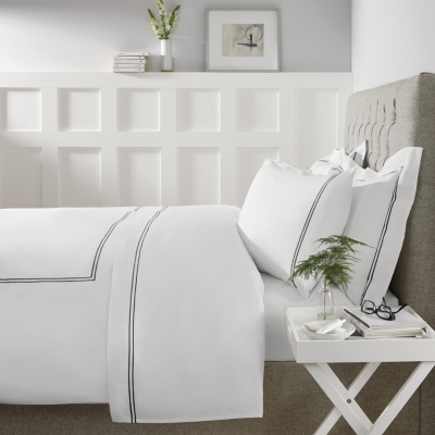 Double Row Cord Duvet Cover & Pillowcase Set - White Charcoal