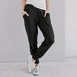 Deep Waistband Pull-On Pants - Dark Charcoal Marl
