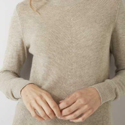 Cashmere Mix Diagonal Stitch Sweater