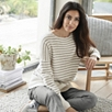 Drop shoulder Stripe Sweater - Biscuit