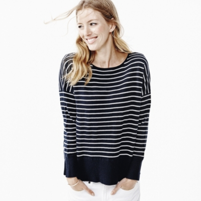 Drop shoulder Stripe Sweater - Blue Stripe