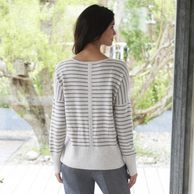 Drop shoulder Stripe Sweater - Biscuit