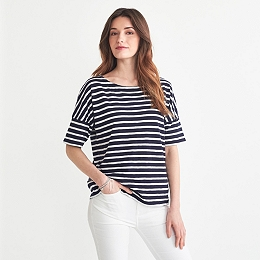 Cotton Slub Drop Shoulder Stripe T-shirt