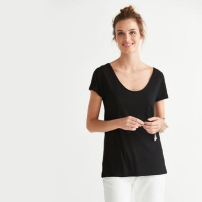 Drape Swing T-Shirt - Black