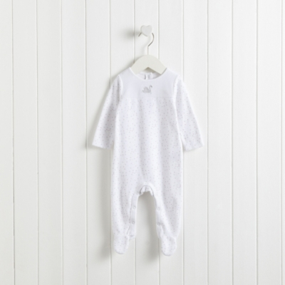 Dotty Swan Embroidered Velour Sleepsuit