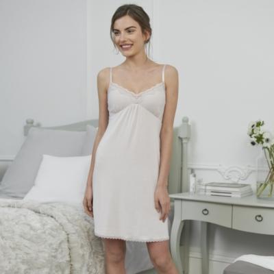 Dot & Lace Nightdress - Ash Rose