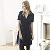 Deep V Shift Dress - Navy