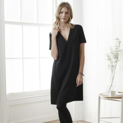 Deep V Shift Dress - Black