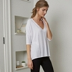Drapey V Neck Tee - White