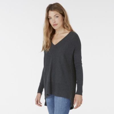 V Neck Ribbed Panel Sweater - Dark Charcoal Marl