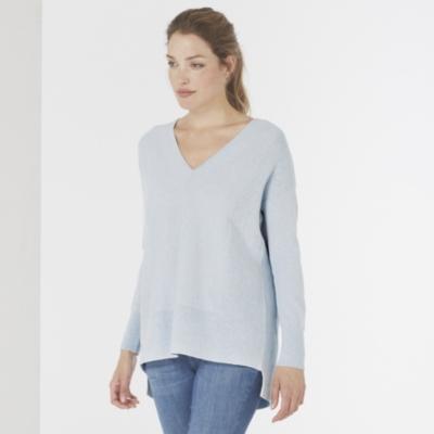 V Neck Ribbed Panel Sweater - Pale Blue Marl