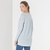 V Neck Ribbed Panel Sweater - Pale Blue Marl