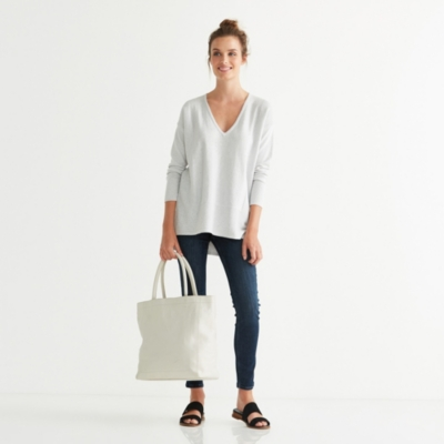 V Neck Ribbed Panel Sweater - Cloud Marl