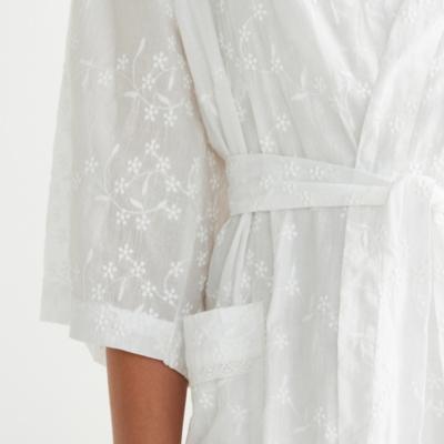 All Over Embroidered Kimono Robe