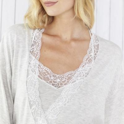 Eyelash Lace Trim Short Robe