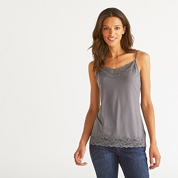 Lace Essential  Trim Cami - Slate Gray