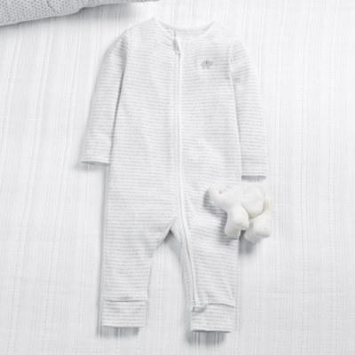 Elephant Stripe Zip Sleepsuit - Ecru