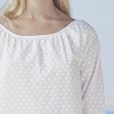 Embroidered Dot Blouse - White