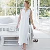 Embroidered Neckline Long Night Gown