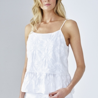 Embroidered Peplum Camisole Top